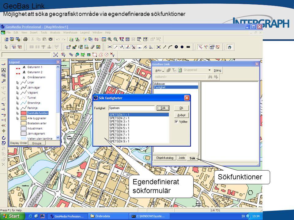 GeoBas Link Möjlighet att söka geografiskt område via egendefinierade sökfunktioner