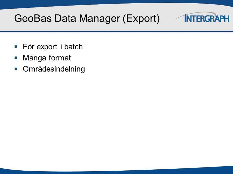 GeoBas Data Manager (Export)