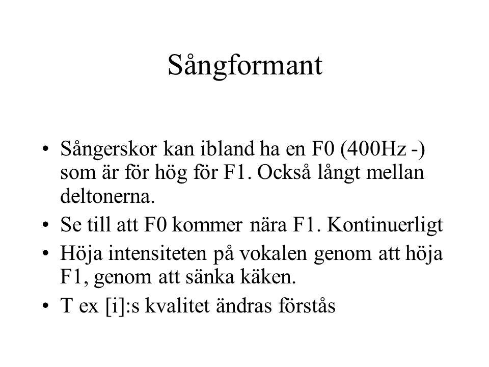 Sångformant Sångerskor kan ibland ha en F0 (400Hz -) som är för hög för F1. Också långt mellan deltonerna.