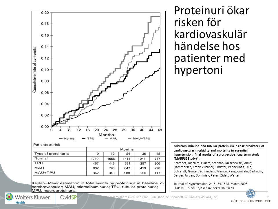 Proteinuri ökar risken för kardiovaskulär händelse hos patienter med hypertoni