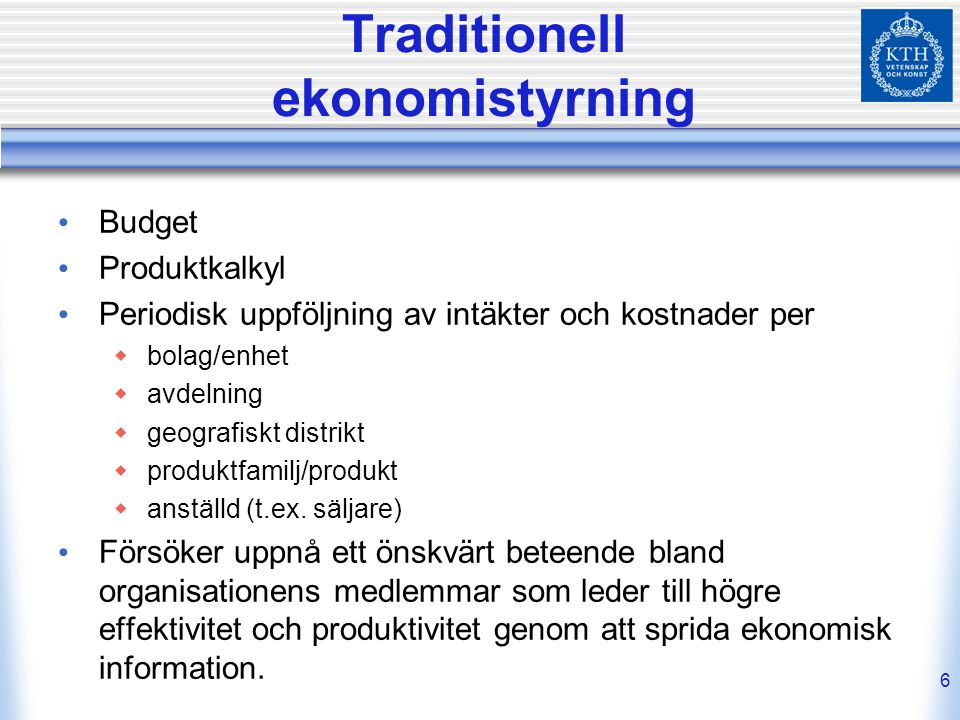 Traditionell ekonomistyrning