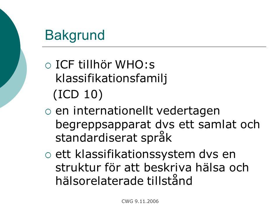 Bakgrund ICF tillhör WHO:s klassifikationsfamilj (ICD 10)
