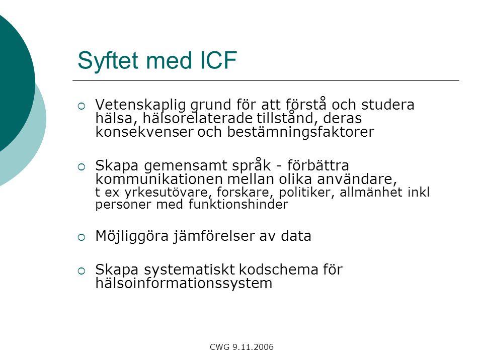 Syftet med ICF Vetenskaplig grund för att förstå och studera hälsa, hälsorelaterade tillstånd, deras konsekvenser och bestämningsfaktorer.