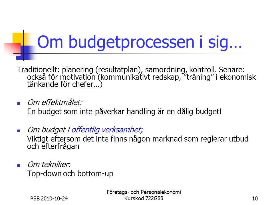 Om budgetprocessen i sig…