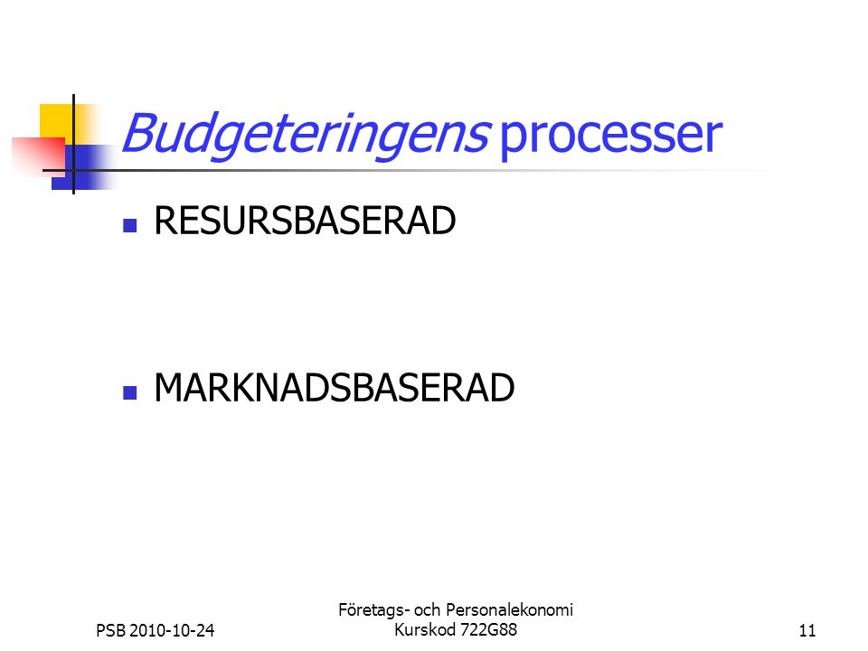 Budgeteringens processer