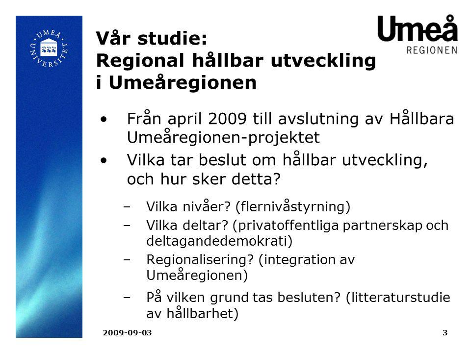 Vår studie: Regional hållbar utveckling i Umeåregionen