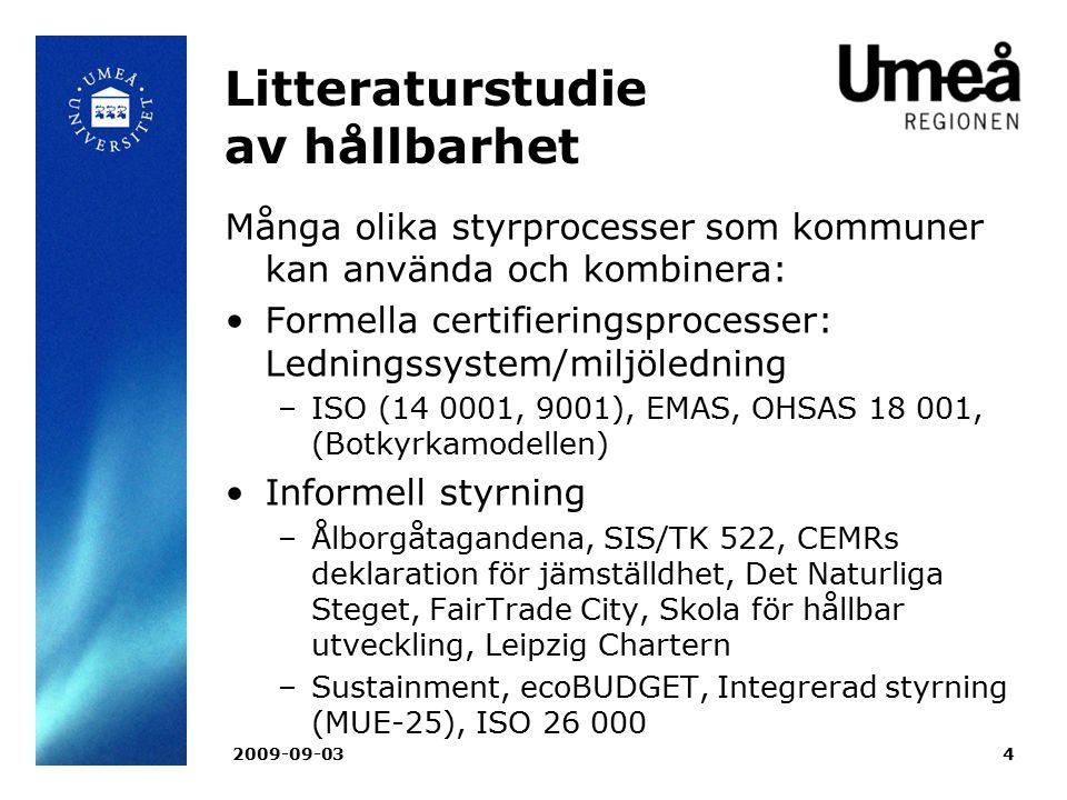 Litteraturstudie av hållbarhet
