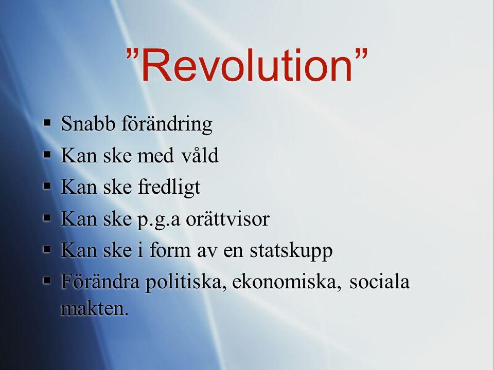 Revolution Snabb förändring Kan ske med våld Kan ske fredligt