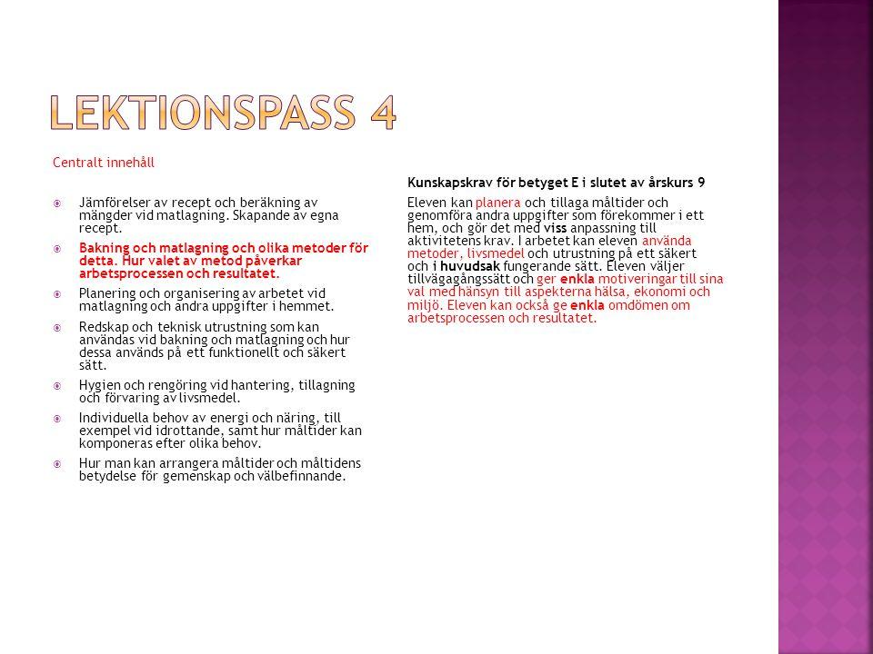 Lektionspass 4 Centralt innehåll