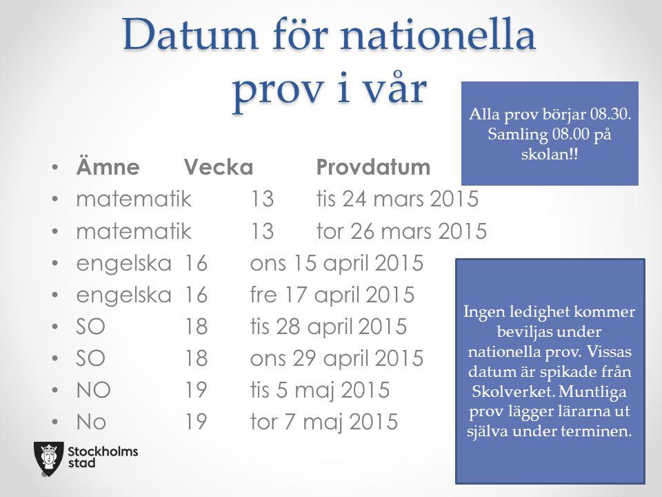 Datum för nationella prov i vår