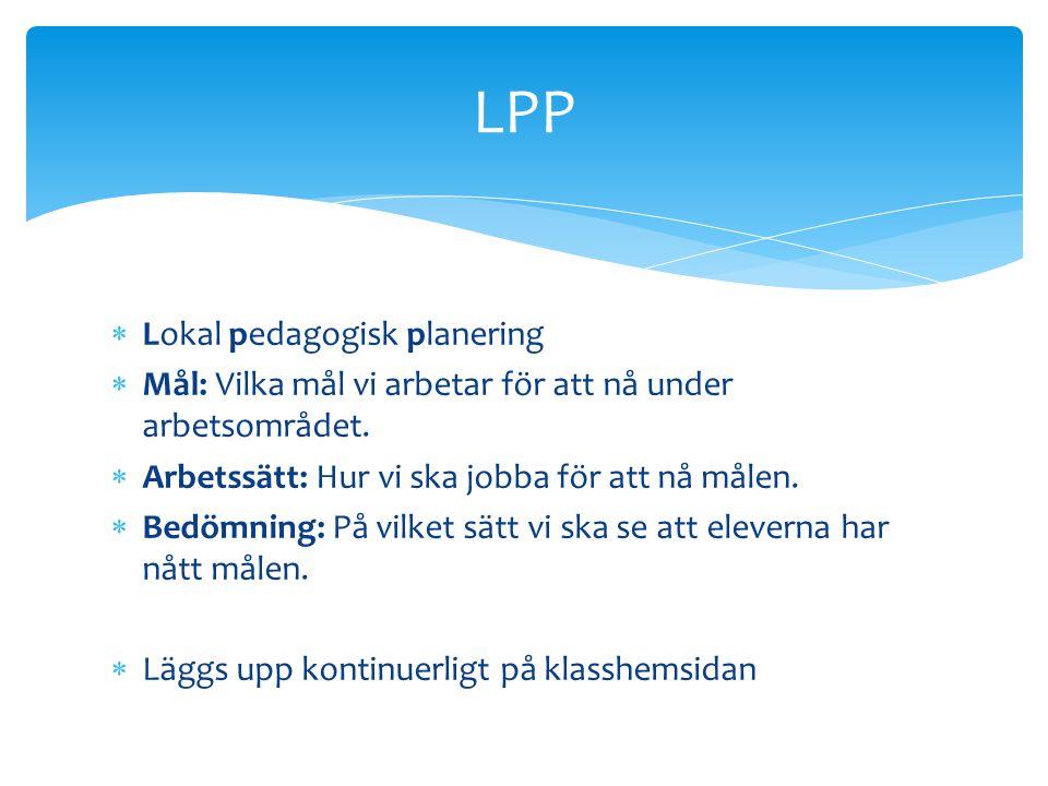 LPP Lokal pedagogisk planering