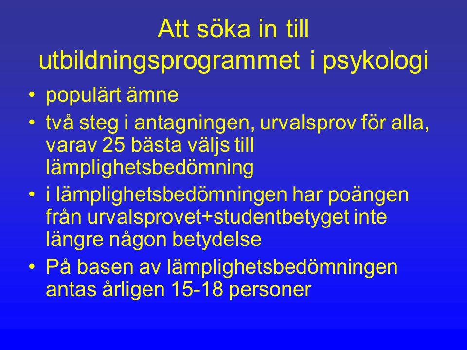 Att söka in till utbildningsprogrammet i psykologi