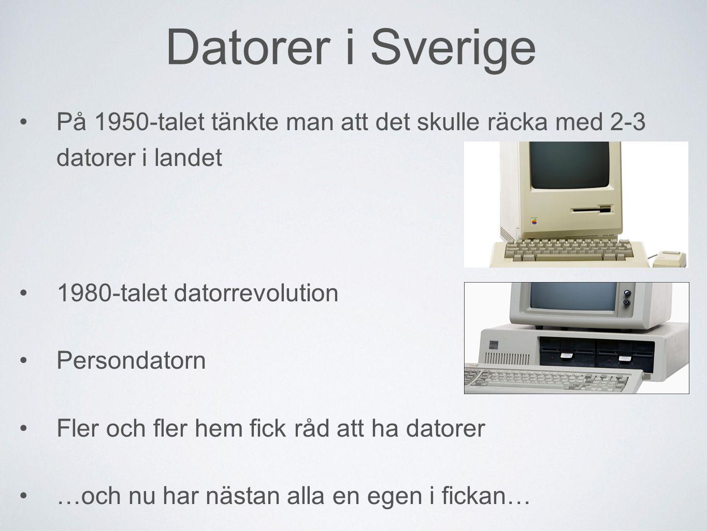 Datorer i Sverige På 1950-talet tänkte man att det skulle räcka med 2-3 datorer i landet. 1980-talet datorrevolution.