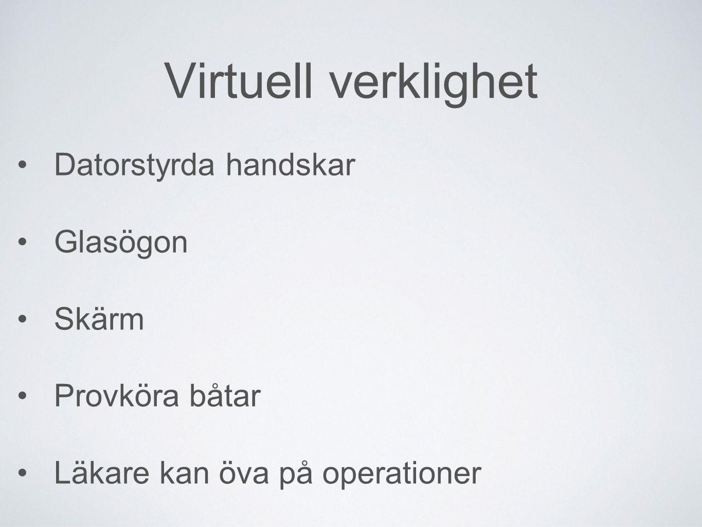 Virtuell verklighet Datorstyrda handskar Glasögon Skärm Provköra båtar