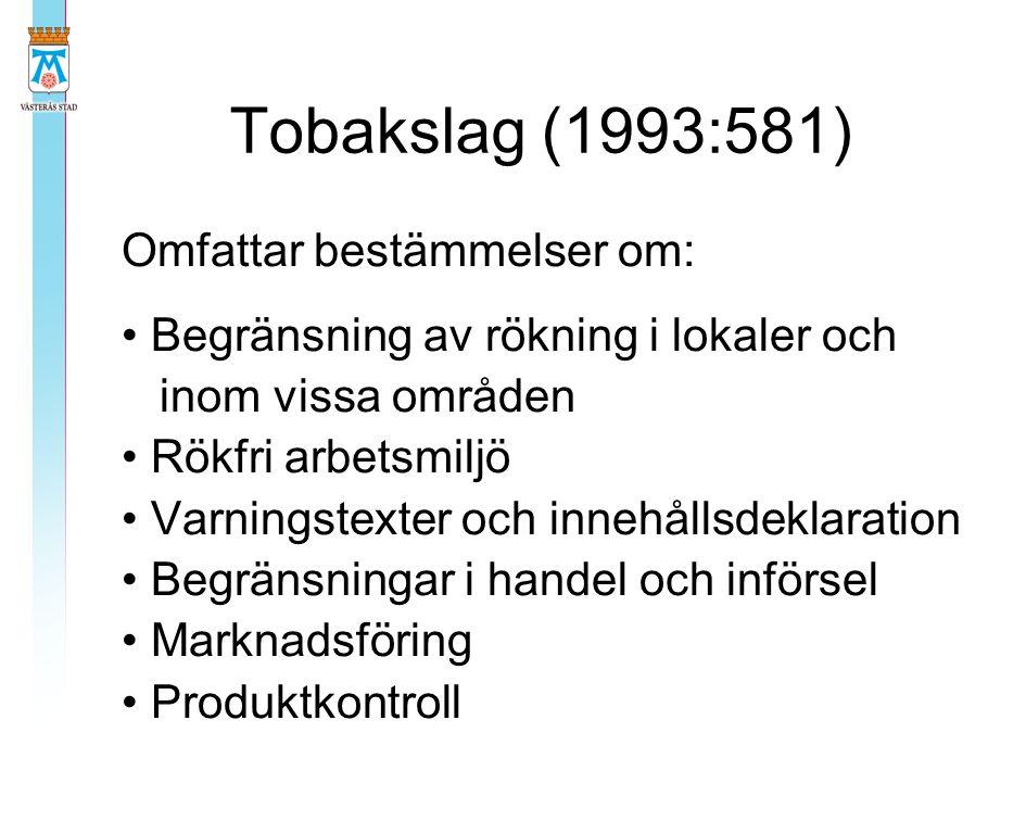 Tobakslag (1993:581) Omfattar bestämmelser om: