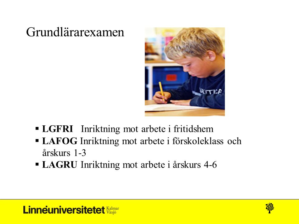 Grundlärarexamen LGFRI Inriktning mot arbete i fritidshem
