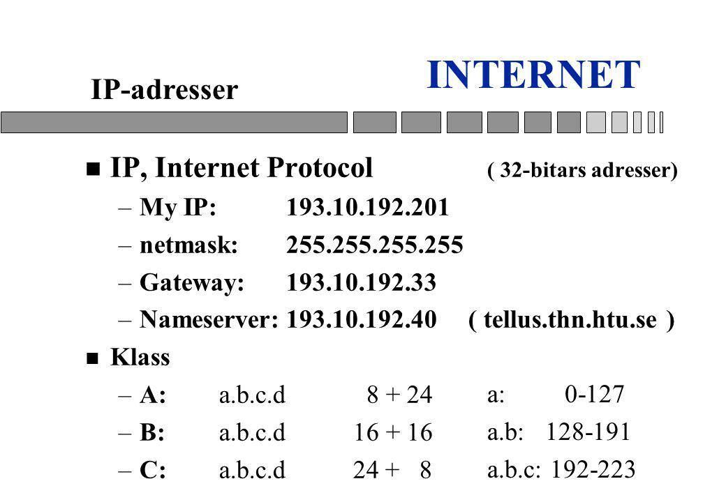 INTERNET IP-adresser IP, Internet Protocol ( 32-bitars adresser)