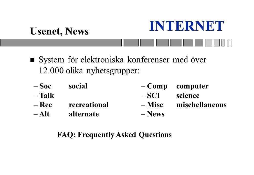 INTERNET Usenet, News. System för elektroniska konferenser med över 12.000 olika nyhetsgrupper: Soc social.