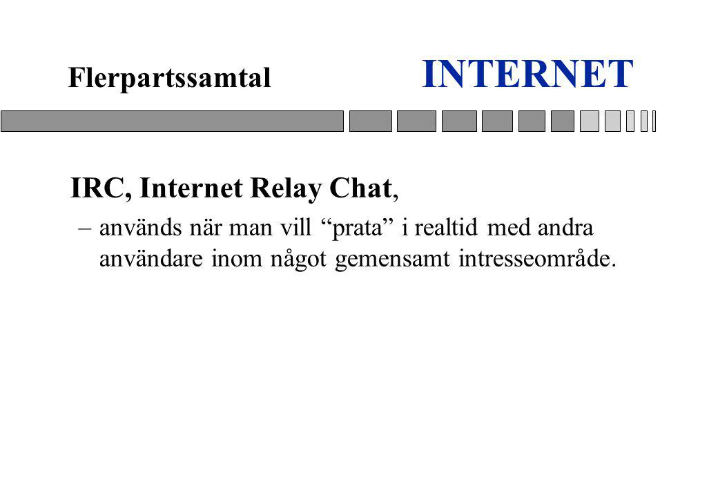 INTERNET Flerpartssamtal IRC, Internet Relay Chat,