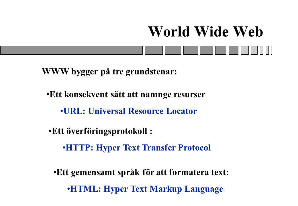 World Wide Web WWW bygger på tre grundstenar: