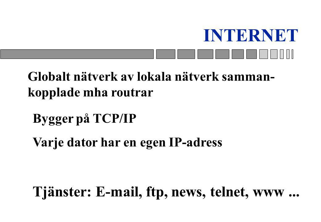INTERNET Tjänster: E-mail, ftp, news, telnet, www ...