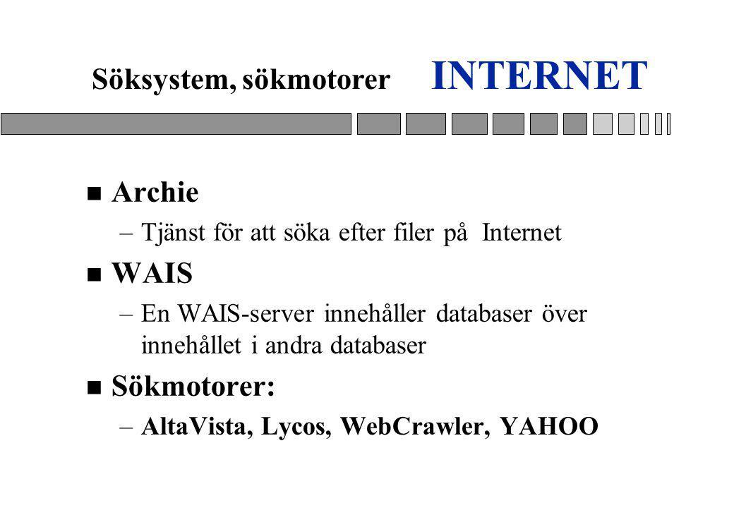 INTERNET Söksystem, sökmotorer Archie WAIS Sökmotorer: