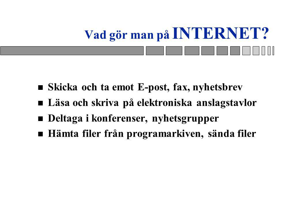 Vad gör man på INTERNET Skicka och ta emot E-post, fax, nyhetsbrev