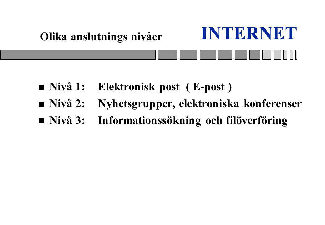 INTERNET Olika anslutnings nivåer Nivå 1: Elektronisk post ( E-post )