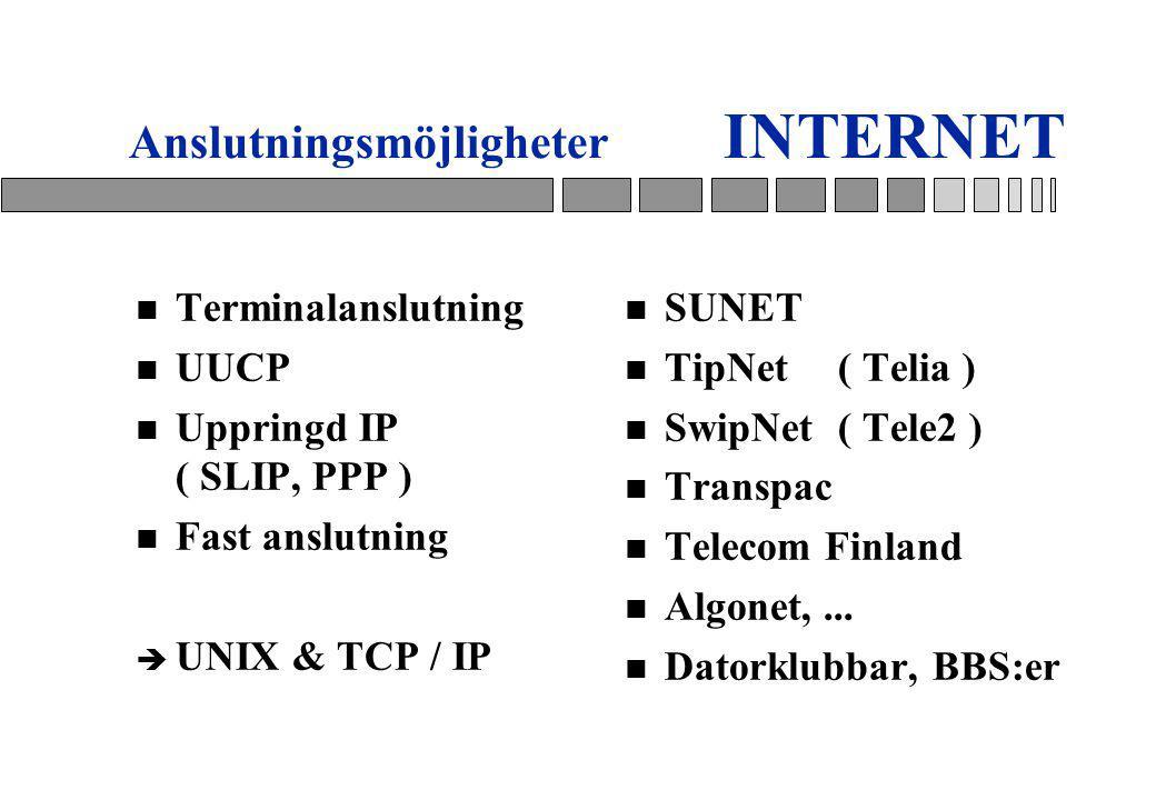 Anslutningsmöjligheter INTERNET