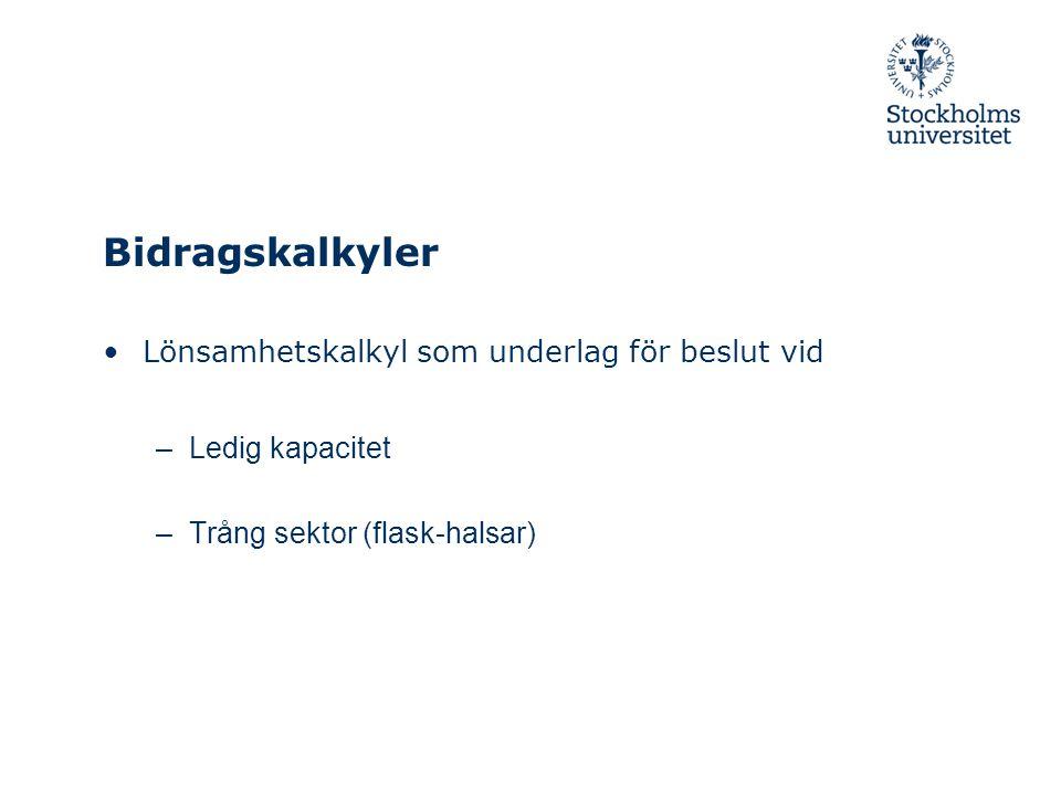 Bidragskalkyler Lönsamhetskalkyl som underlag för beslut vid
