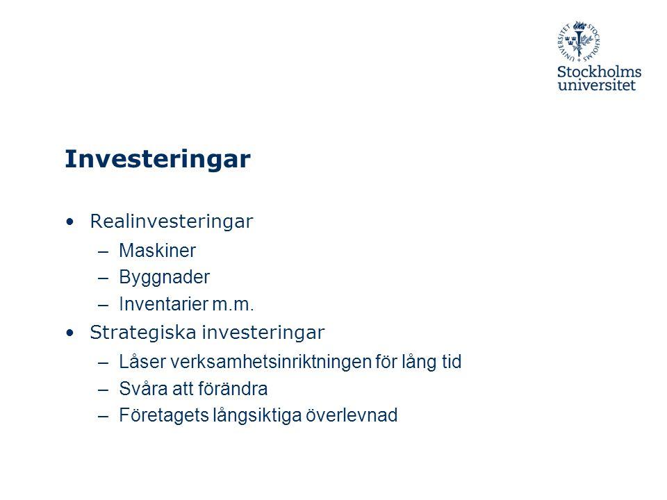 Investeringar Realinvesteringar Maskiner Byggnader Inventarier m.m.
