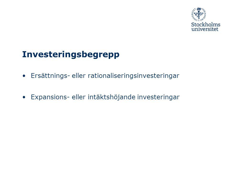 Investeringsbegrepp Ersättnings- eller rationaliseringsinvesteringar