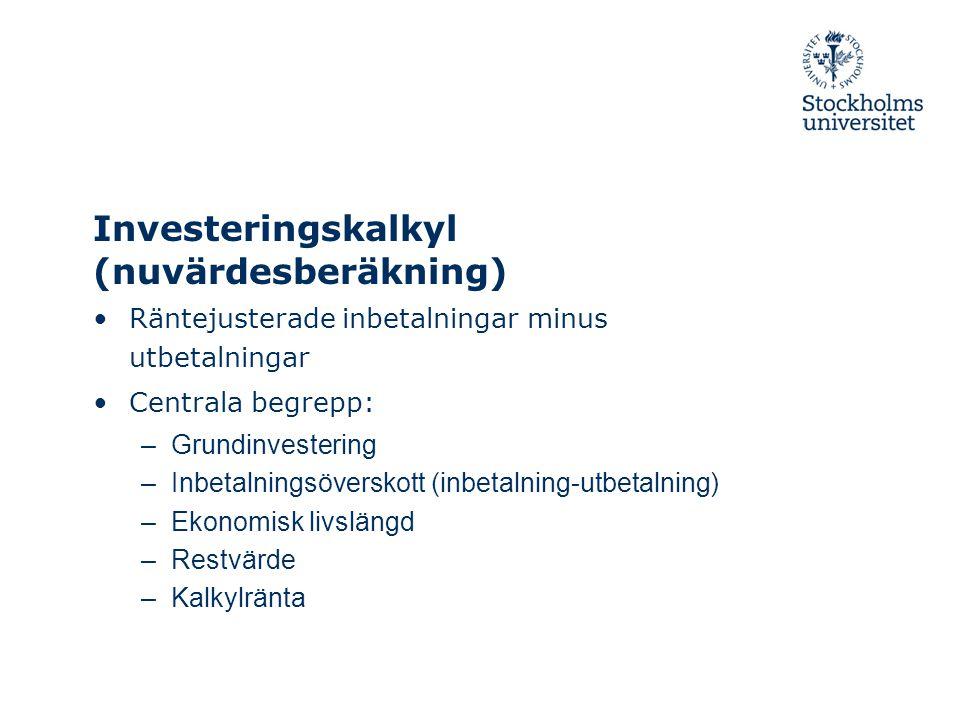 Investeringskalkyl (nuvärdesberäkning)