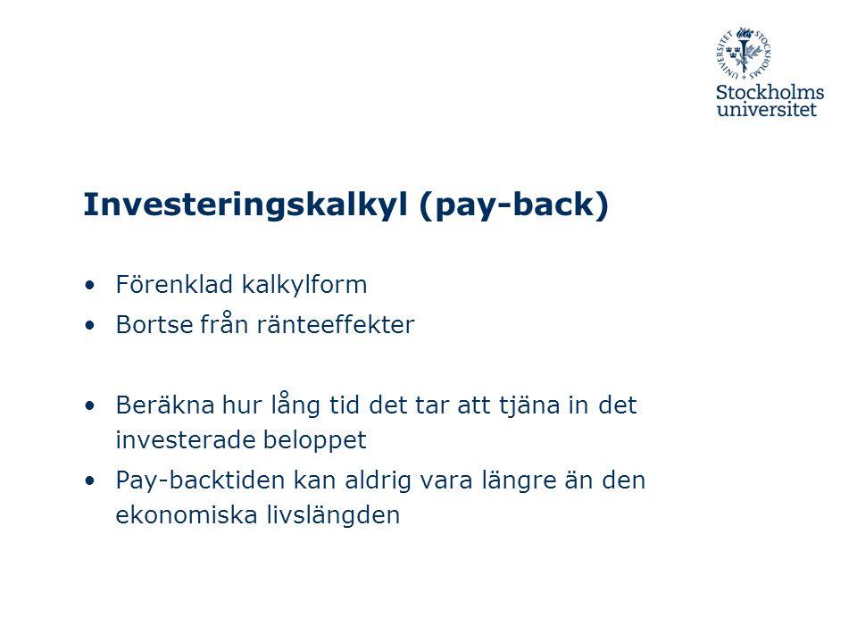 Investeringskalkyl (pay-back)