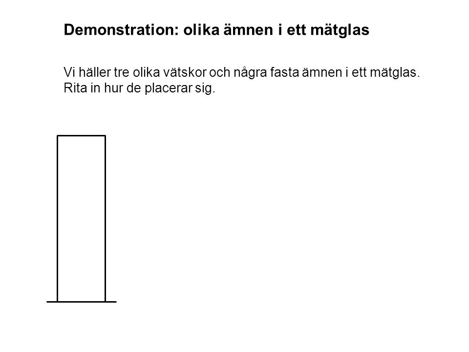 Demonstration: olika ämnen i ett mätglas