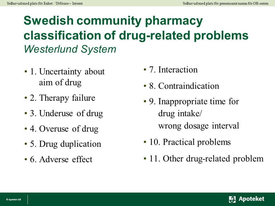 Swedish community pharmacy classification of drug-related problems Westerlund System
