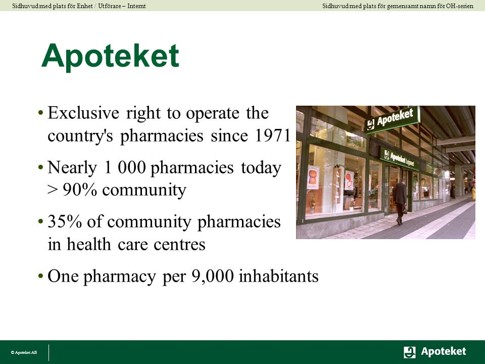 Apoteket Exclusive right to operate the country s pharmacies since 1971. Nearly 1 000 pharmacies today > 90% community.