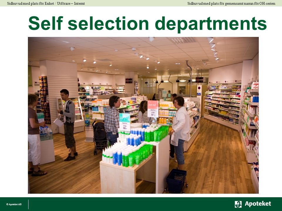 Self selection departments