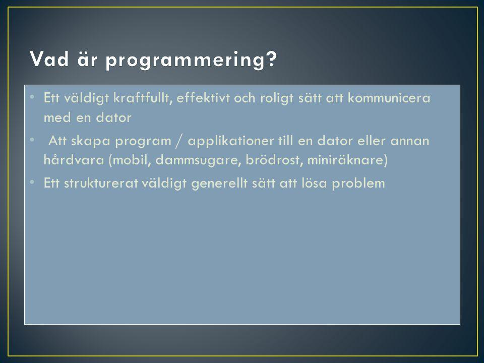 Vad är programmering Ett väldigt kraftfullt, effektivt och roligt sätt att kommunicera med en dator.