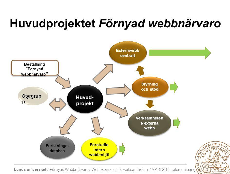 Huvudprojektet Förnyad webbnärvaro