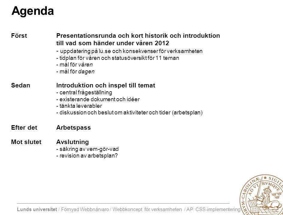 Agenda Först Presentationsrunda och kort historik och introduktion till vad som händer under våren 2012.