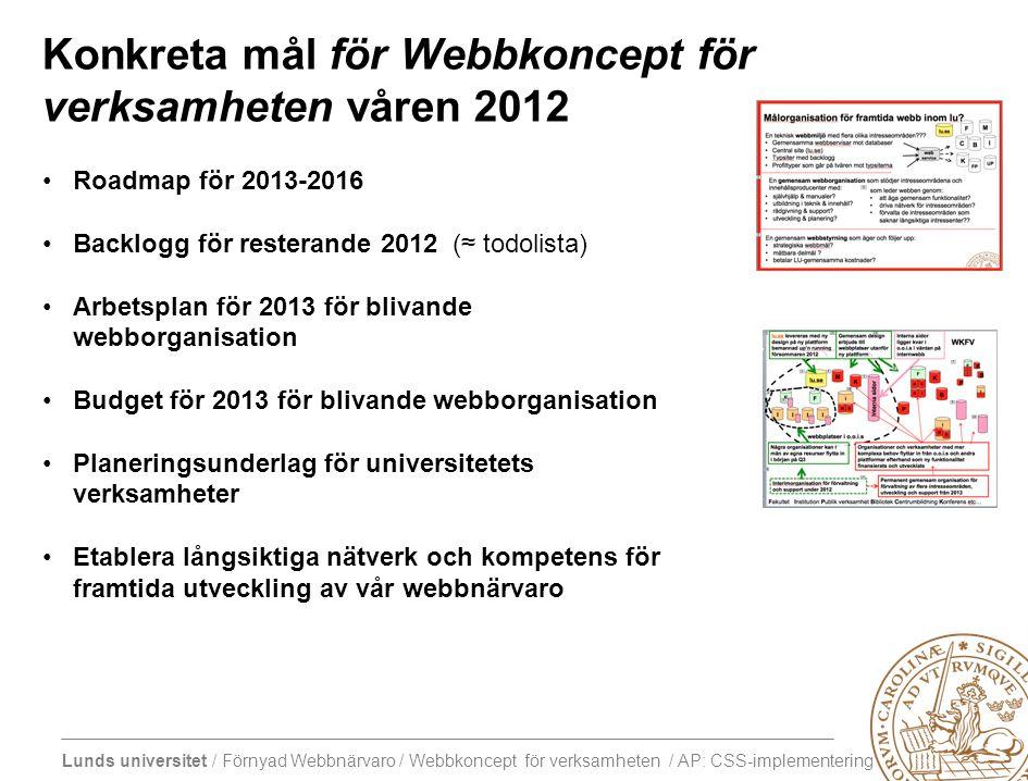 Konkreta mål för Webbkoncept för verksamheten våren 2012