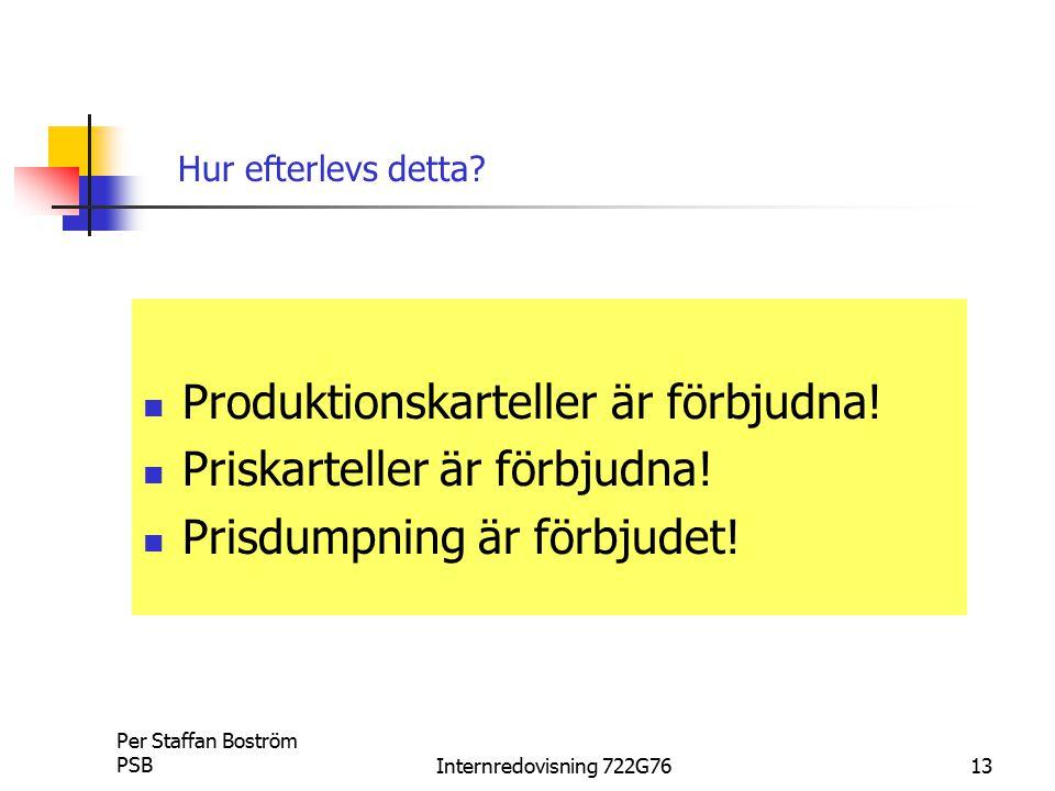 Produktionskarteller är förbjudna! Priskarteller är förbjudna!