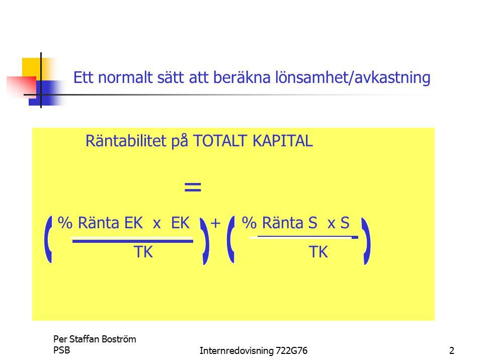 Ett normalt sätt att beräkna lönsamhet/avkastning