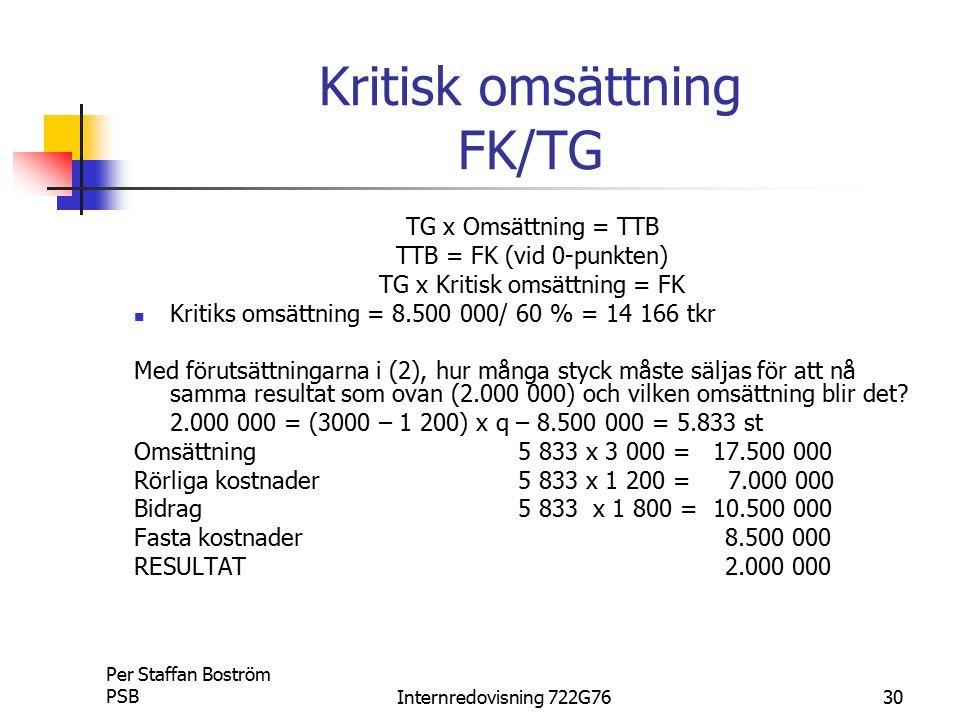 Kritisk omsättning FK/TG