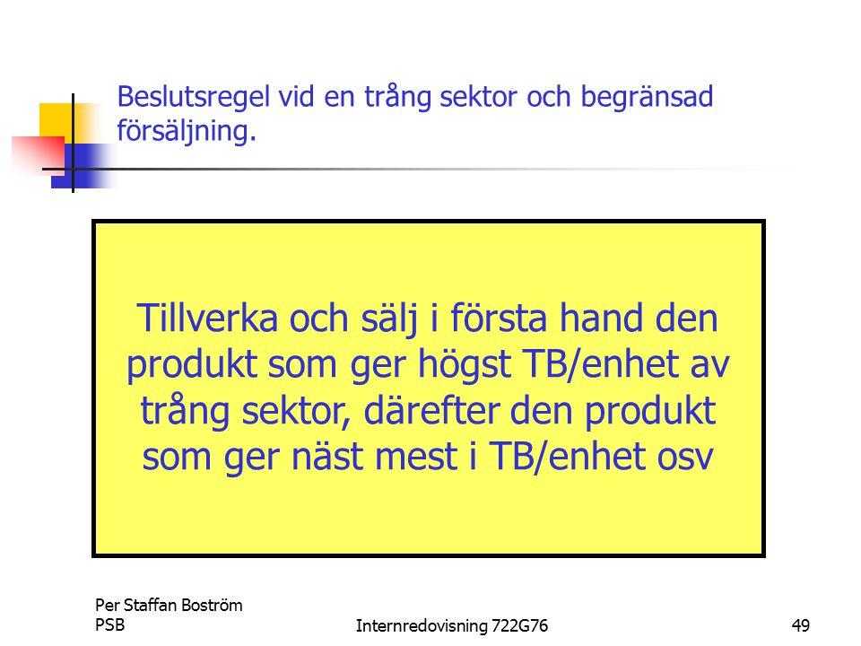 Beslutsregel vid en trång sektor och begränsad försäljning.