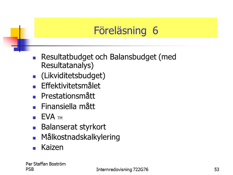Föreläsning 6 Resultatbudget och Balansbudget (med Resultatanalys)