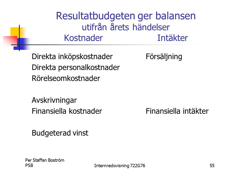 Resultatbudgeten ger balansen utifrån årets händelser Kostnader