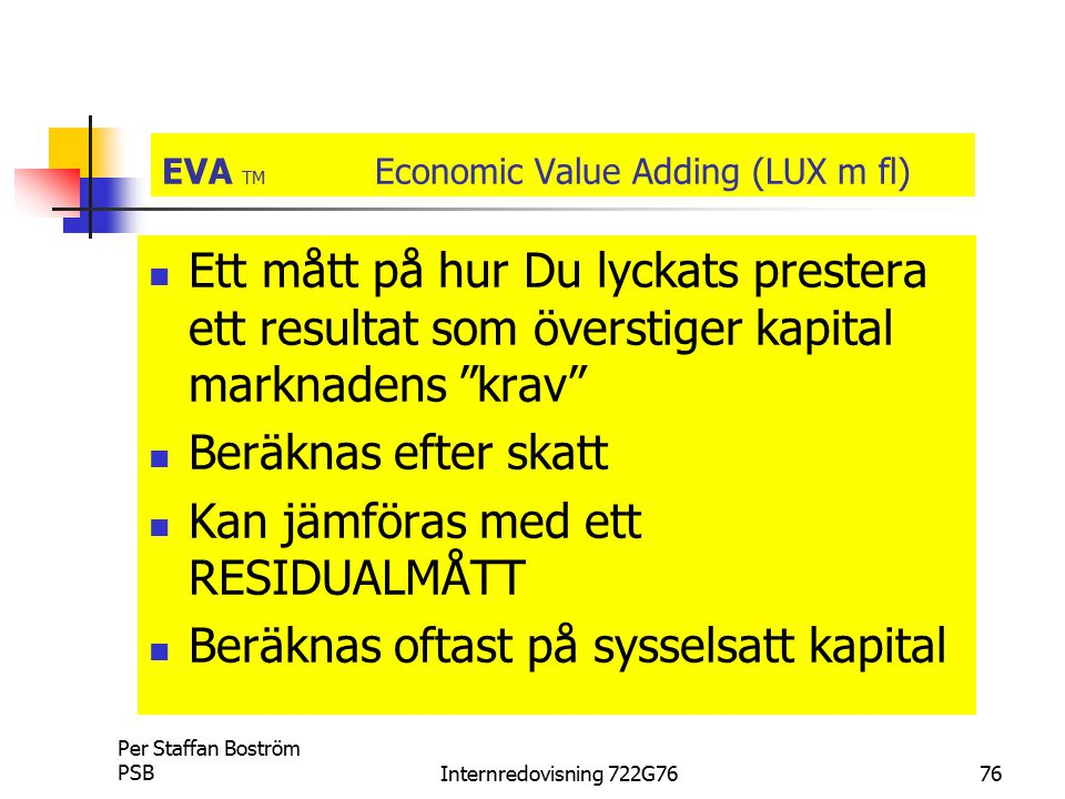 EVA TM Economic Value Adding (LUX m fl)