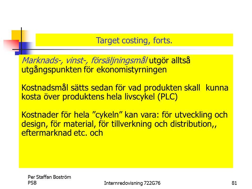 Target costing, forts. Marknads-, vinst-, försäljningsmål utgör alltså utgångspunkten för ekonomistyrningen.